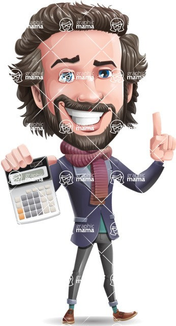 Stylish Man Cartoon Vector Character - with Calculator