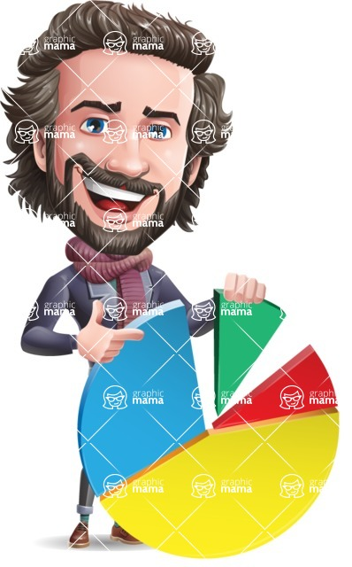 Stylish Man Cartoon Vector Character - with Business graph