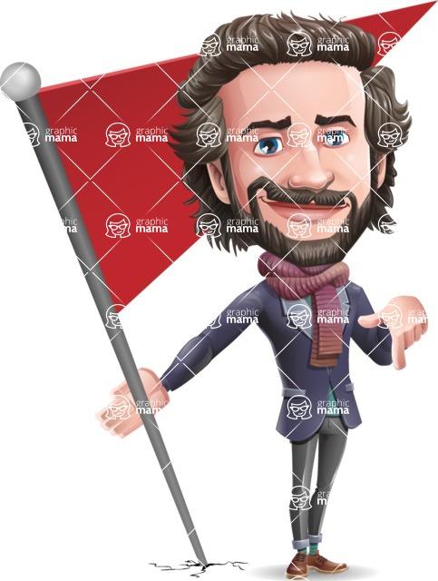 Stylish Man Cartoon Vector Character - with Flag