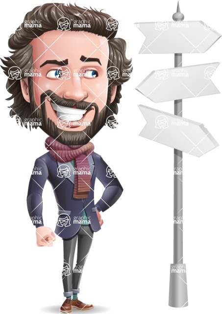 Stylish Man Cartoon Vector Character - on a Crossroad with sign pointing in all directions