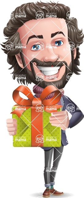 Stylish Man Cartoon Vector Character - with Gift box