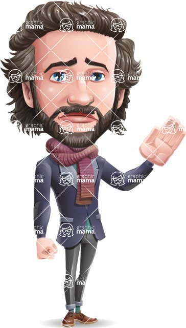 Stylish Man Cartoon Vector Character - Waving for Goodbye with a hand