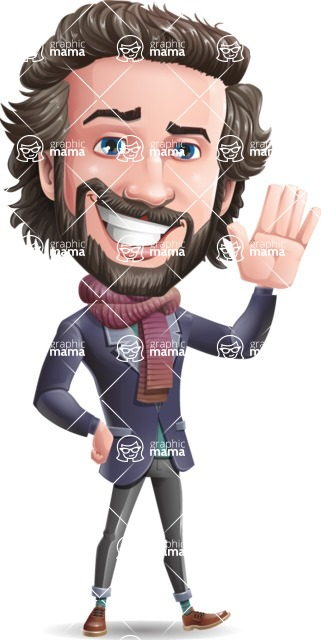 Stylish Man Cartoon Vector Character - Waving for Hello with a hand