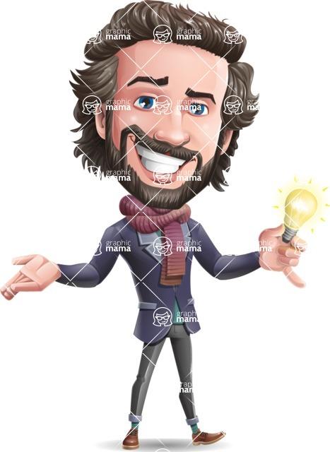 Stylish Man Cartoon Vector Character - with an Idea