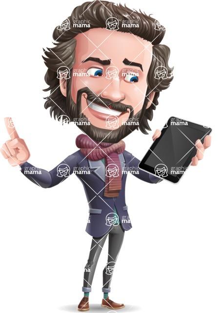 Stylish Man Cartoon Vector Character - Holding an iPad