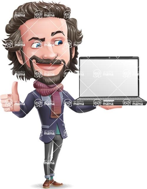 Stylish Man Cartoon Vector Character - Presenting on laptop