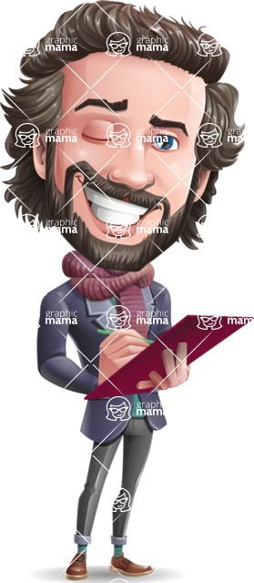 Stylish Man Cartoon Vector Character - Holding a notepad with pencil