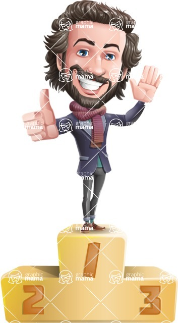 Stylish Man Cartoon Vector Character - with Success on Top
