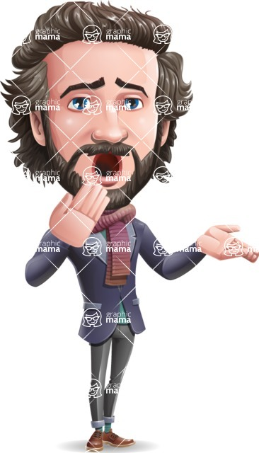 Stylish Man Cartoon Vector Character - Making Oops gesture