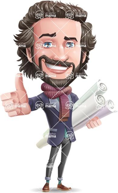 Stylish Man Cartoon Vector Character - Holding Plans