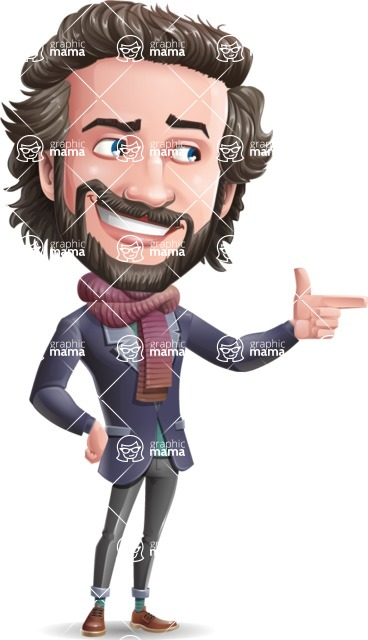 Stylish Man Cartoon Vector Character - Pointing with left hand