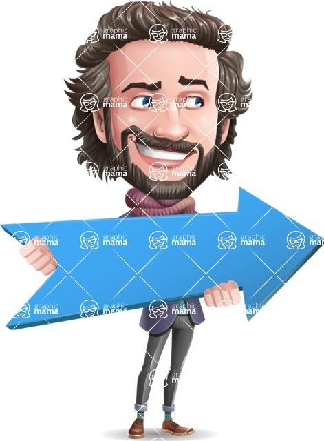 Stylish Man Cartoon Vector Character - with Positive arrow