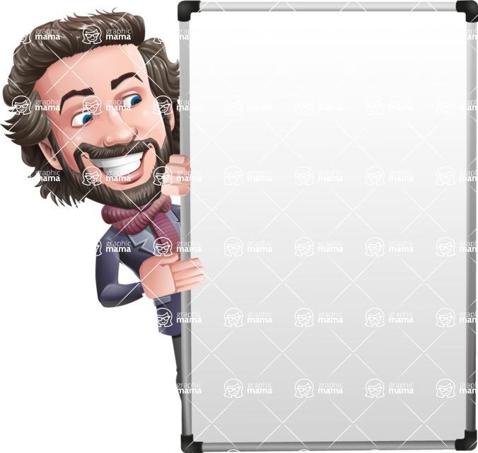 Stylish Man Cartoon Vector Character - with Big Presentation board