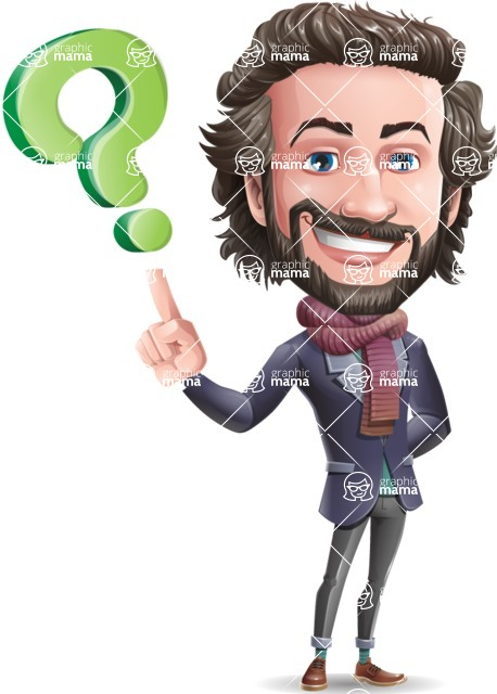 Stylish Man Cartoon Vector Character - with Question mark
