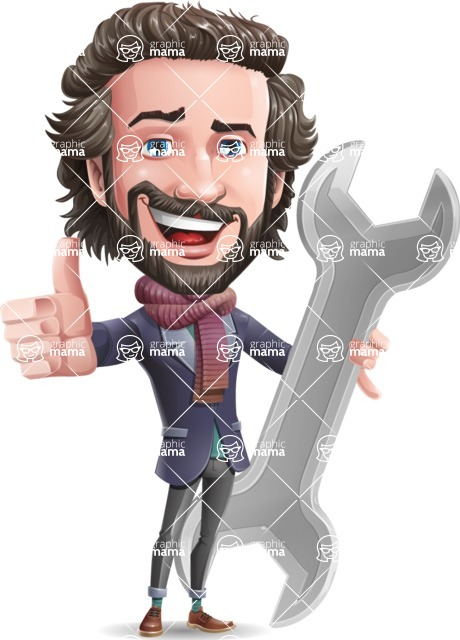 Stylish Man Cartoon Vector Character - with Repairing tool wrench