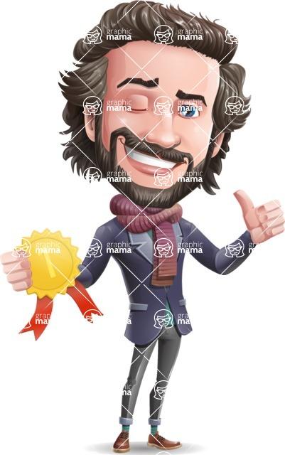 Stylish Man Cartoon Vector Character - Winning prize