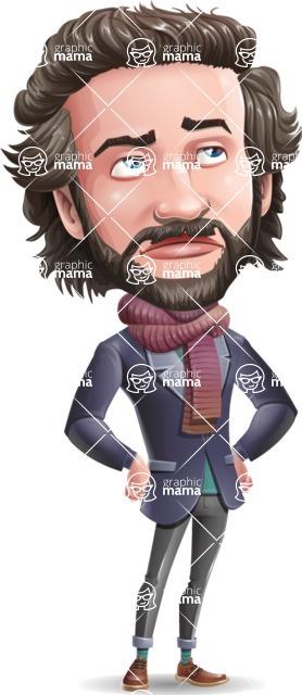 Stylish Man Cartoon Vector Character - Rolling Eyes