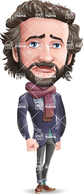 Stylish Man Cartoon Vector Character - with Sad face