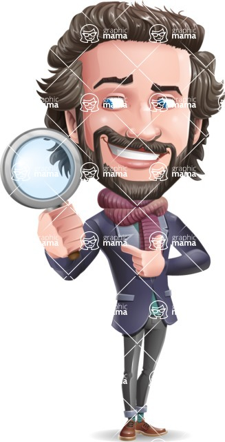 Stylish Man Cartoon Vector Character - Searching with magnifying glass