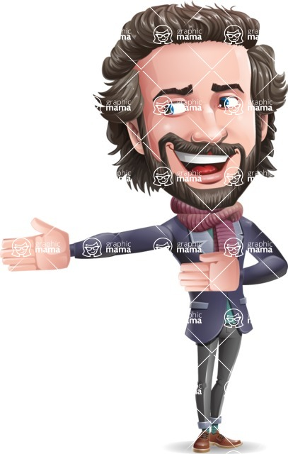 Stylish Man Cartoon Vector Character - Presenting with both hands