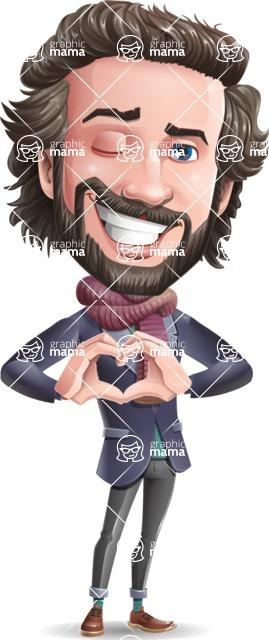 Stylish Man Cartoon Vector Character - Showing Love