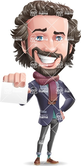 Stylish Man Cartoon Vector Character - with a Blank Business card