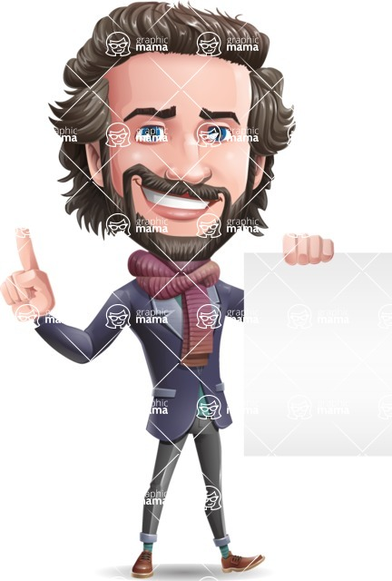 Stylish Man Cartoon Vector Character - with a Blank paper