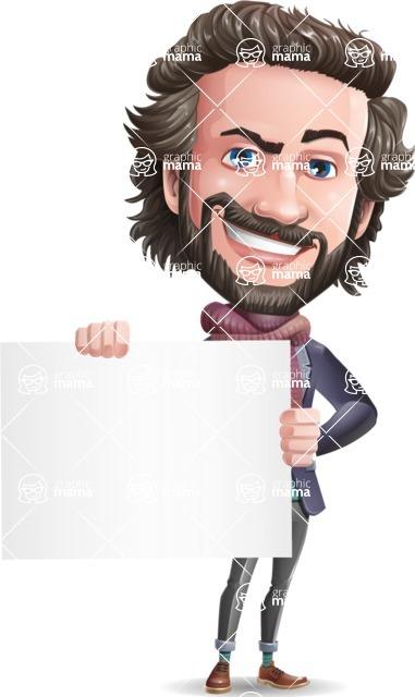 Stylish Man Cartoon Vector Character - Holding a Blank sign