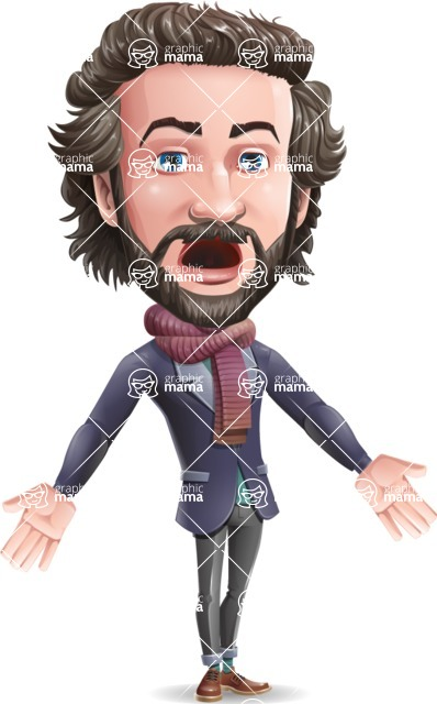 Stylish Man Cartoon Vector Character - with Stunned face
