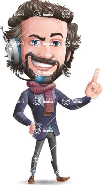 Stylish Man Cartoon Vector Character - Talking on phone