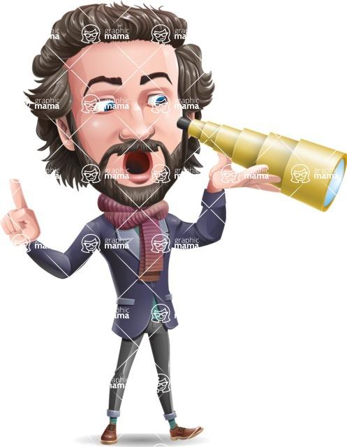 Stylish Man Cartoon Vector Character - Looking through telescope