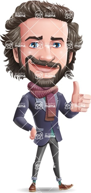Stylish Man Cartoon Vector Character - Making Thumbs Up