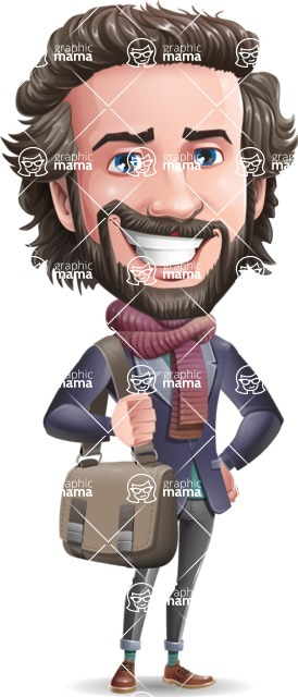Stylish Man Cartoon Vector Character - Traveling