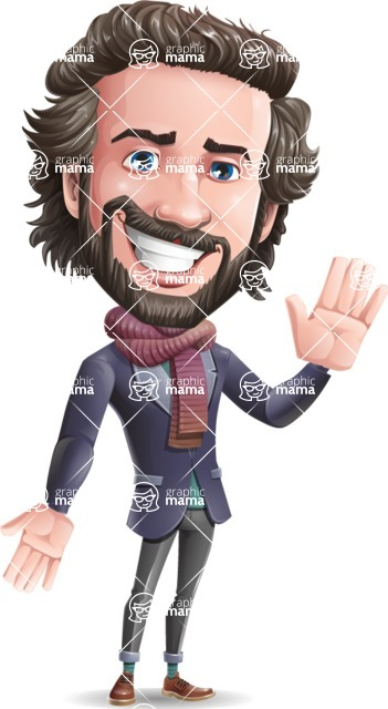 Stylish Man Cartoon Vector Character - Waving