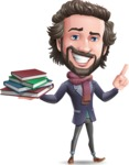 Stylish Man Cartoon Vector Character - with Books