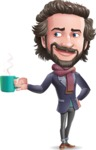 Stylish Man Cartoon Vector Character - Drinking Coffee