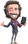 Stylish Man Cartoon Vector Character - Holding a smartphone