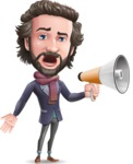 Stylish Man Cartoon Vector Character - Holding a Loudspeaker