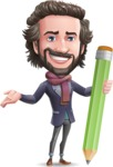 Stylish Man Cartoon Vector Character - Holding Pencil