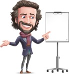 Stylish Man Cartoon Vector Character - with a Blank Presentation board