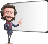Stylish Man Cartoon Vector Character - Making a Presentation on a Blank white board