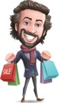 Stylish Man Cartoon Vector Character - Holding shopping bags