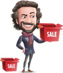 Stylish Man Cartoon Vector Character - with Sale boxes