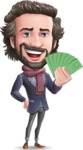 Stylish Man Cartoon Vector Character - Holding Money