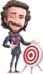 Stylish Man Cartoon Vector Character - with Target