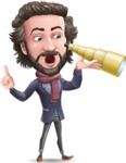 Stylish Man Cartoon Vector Character - Looking through telescope