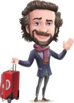 Stylish Man Cartoon Vector Character - with Suitcase