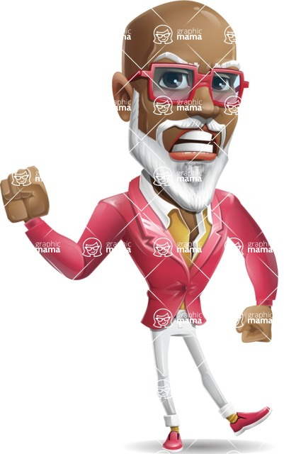 Mature African American Man Cartoon Character - with Angry face