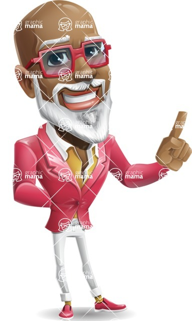 Mature African American Man Cartoon Character - Making a point