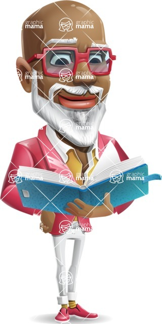 Mature African American Man Cartoon Character - Reading a book